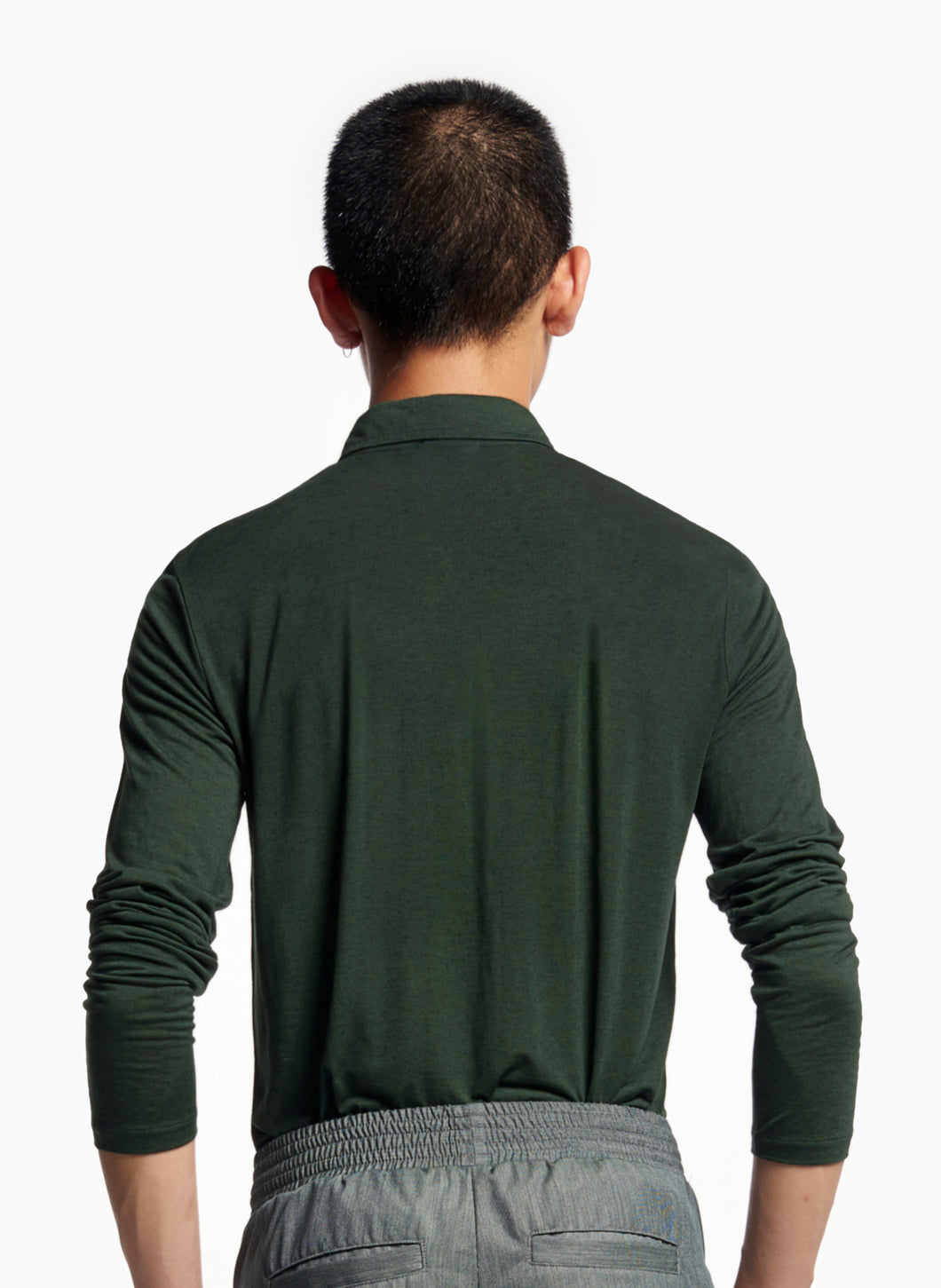 Long Sleeve Poloshirt in English Green Tencel