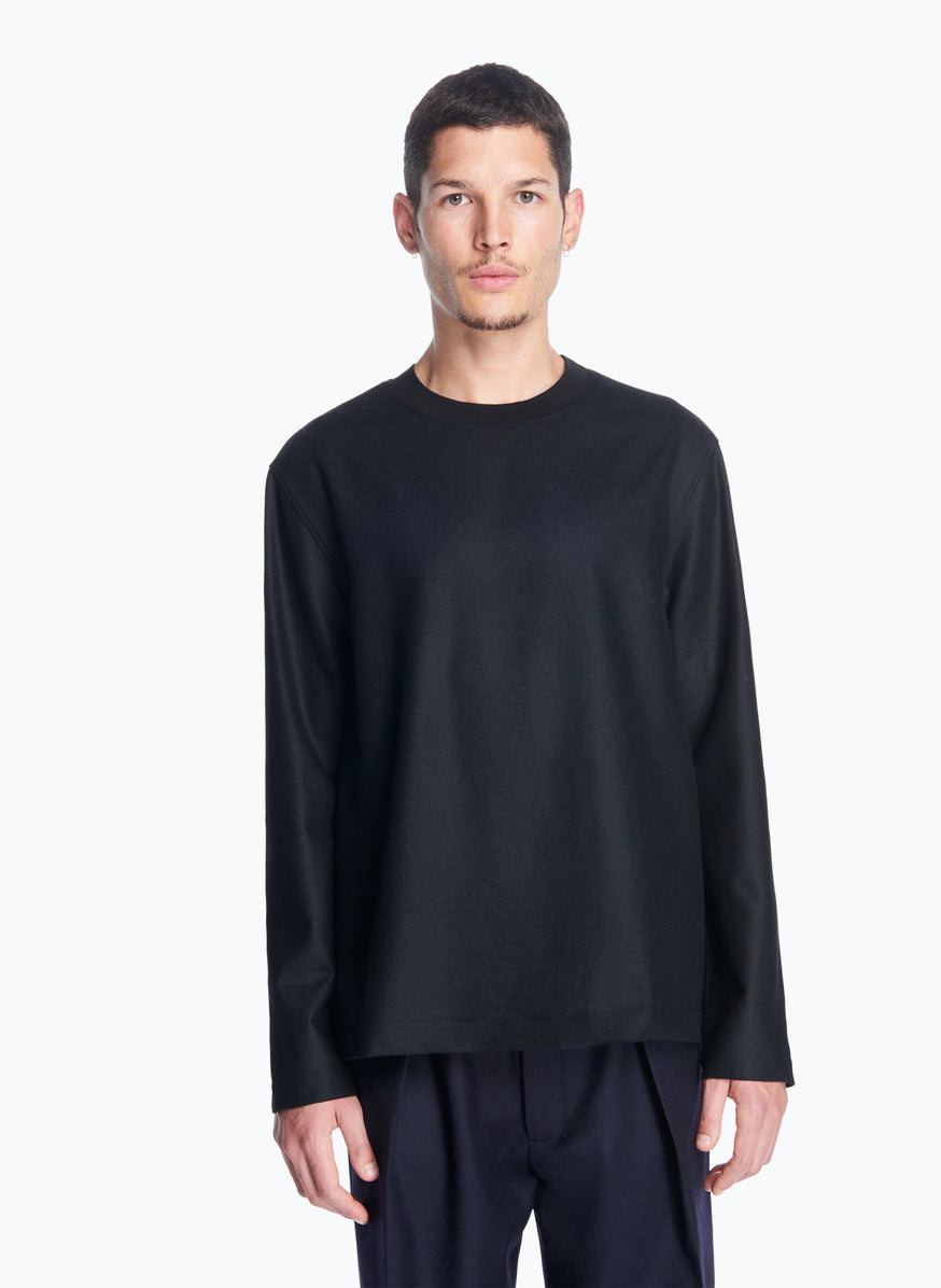 Long Sleeve T-Shirt with Edge-Ribbed Collar in Black Flannel Wool