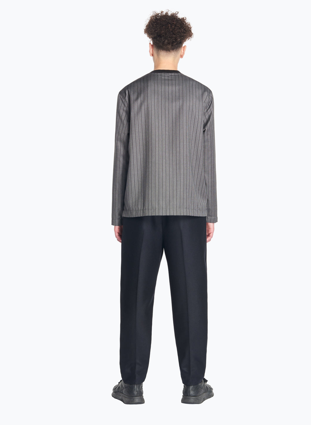 Long Sleeve T-Shirt with Edge-Ribbed Collar in Grey Striped Cool Wool