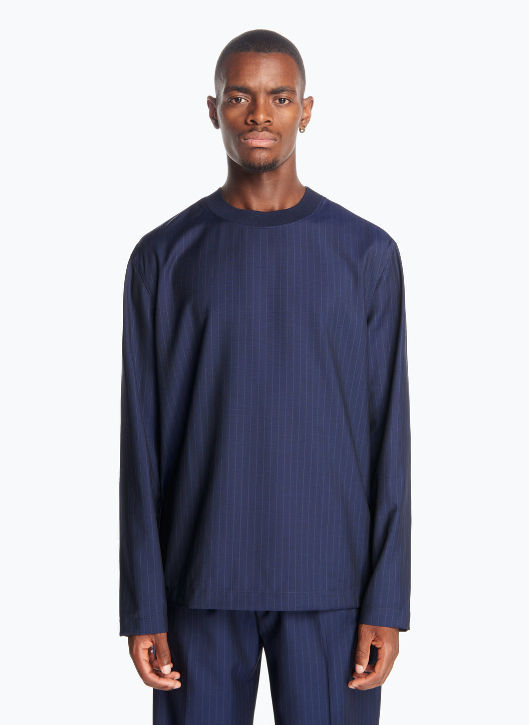 Long Sleeve T-Shirt with Edge-Ribbed Collar in Navy Blue Striped Cool Wool