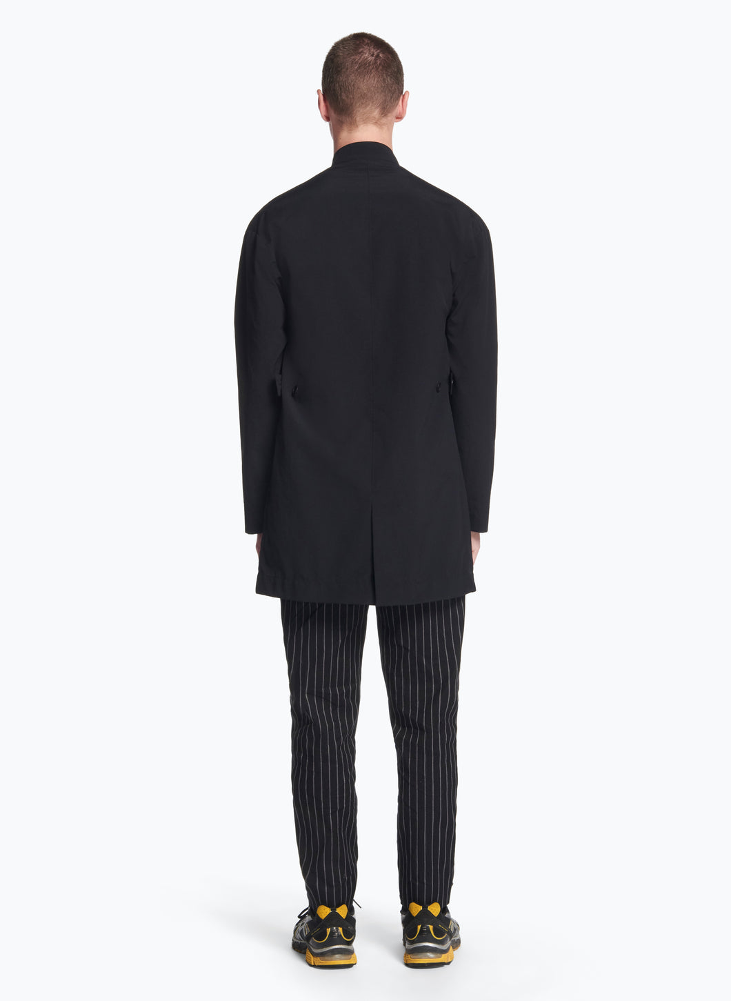 Mandarin Collar Overcoat in Black Ripstop