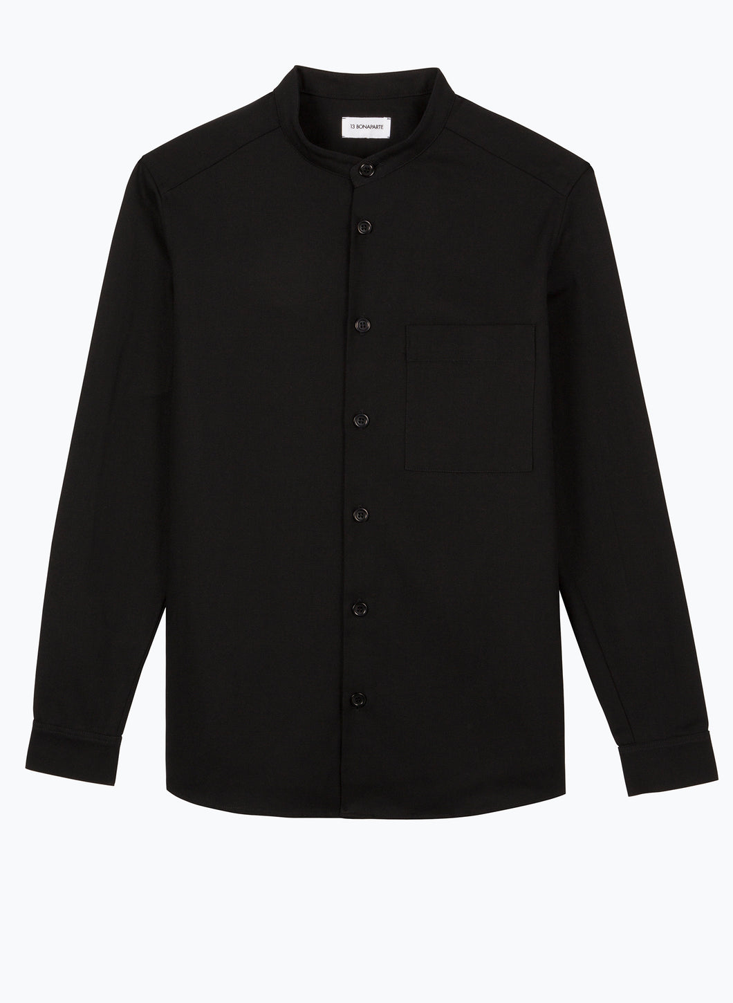Mandarin Collar Overshirt in Black Canvas