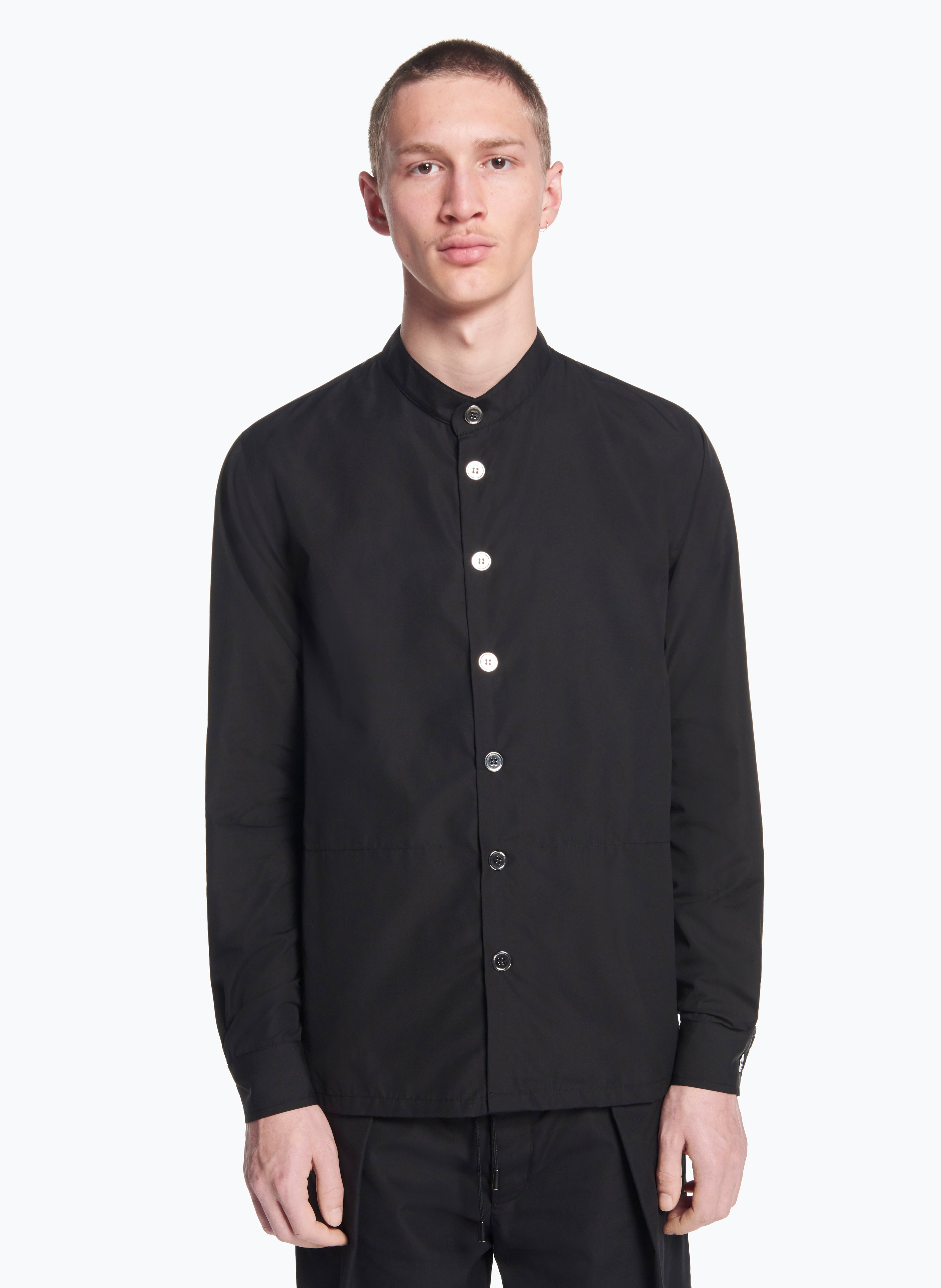 Mandarin Collar Overshirt in Black Poplin