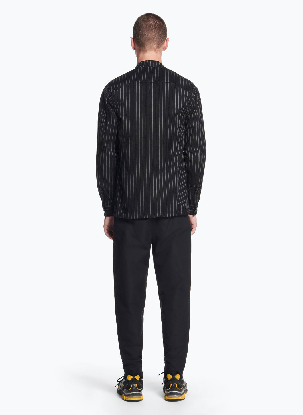 Mandarin Collar Overshirt in Black Striped Technical Gabardine