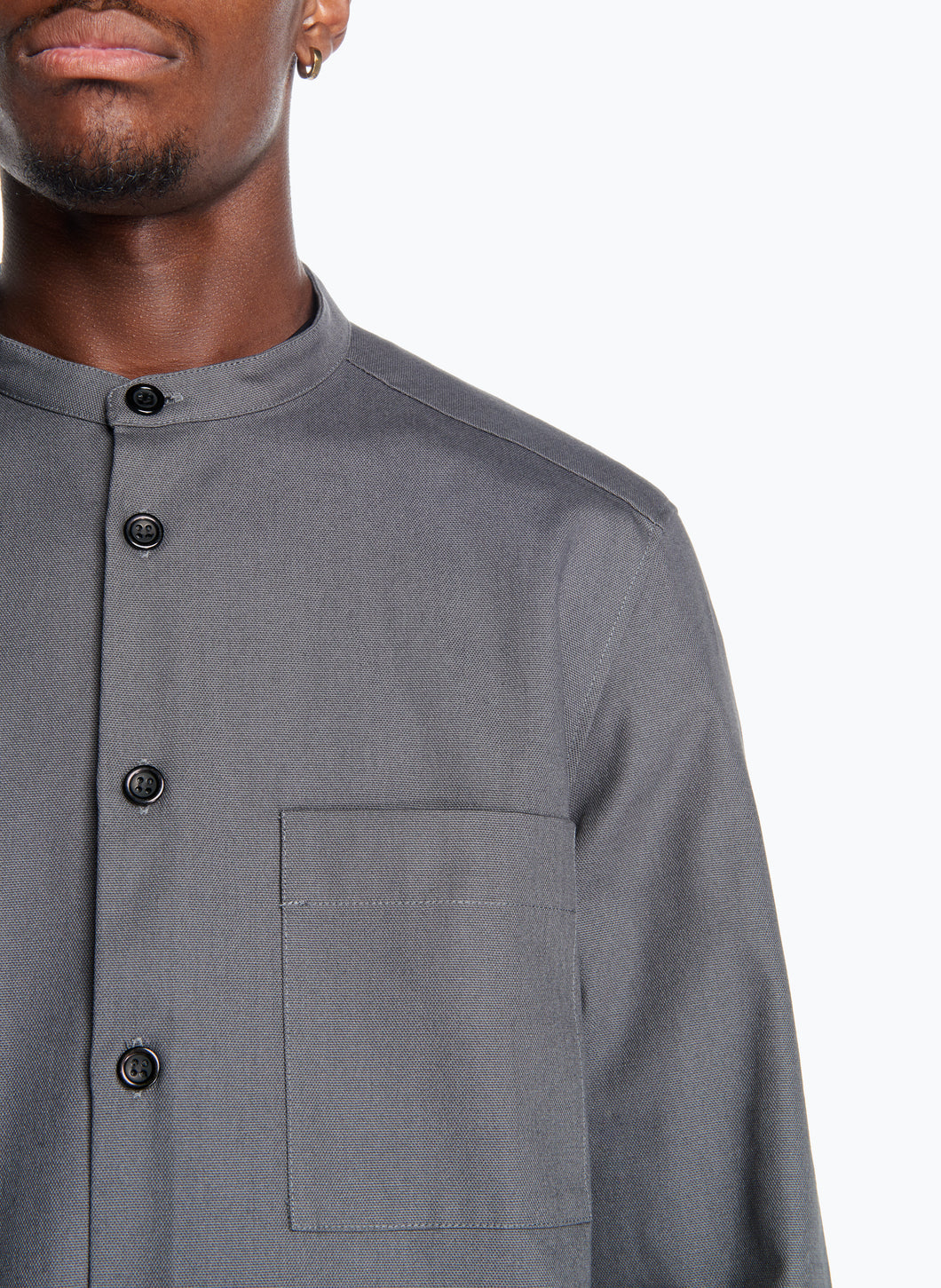 Mandarin Collar Overshirt in Grey Canvas
