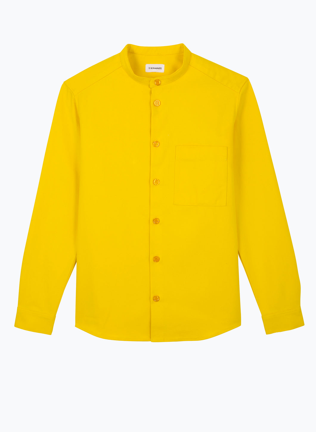 Mandarin Collar Overshirt in Yellow Canvas