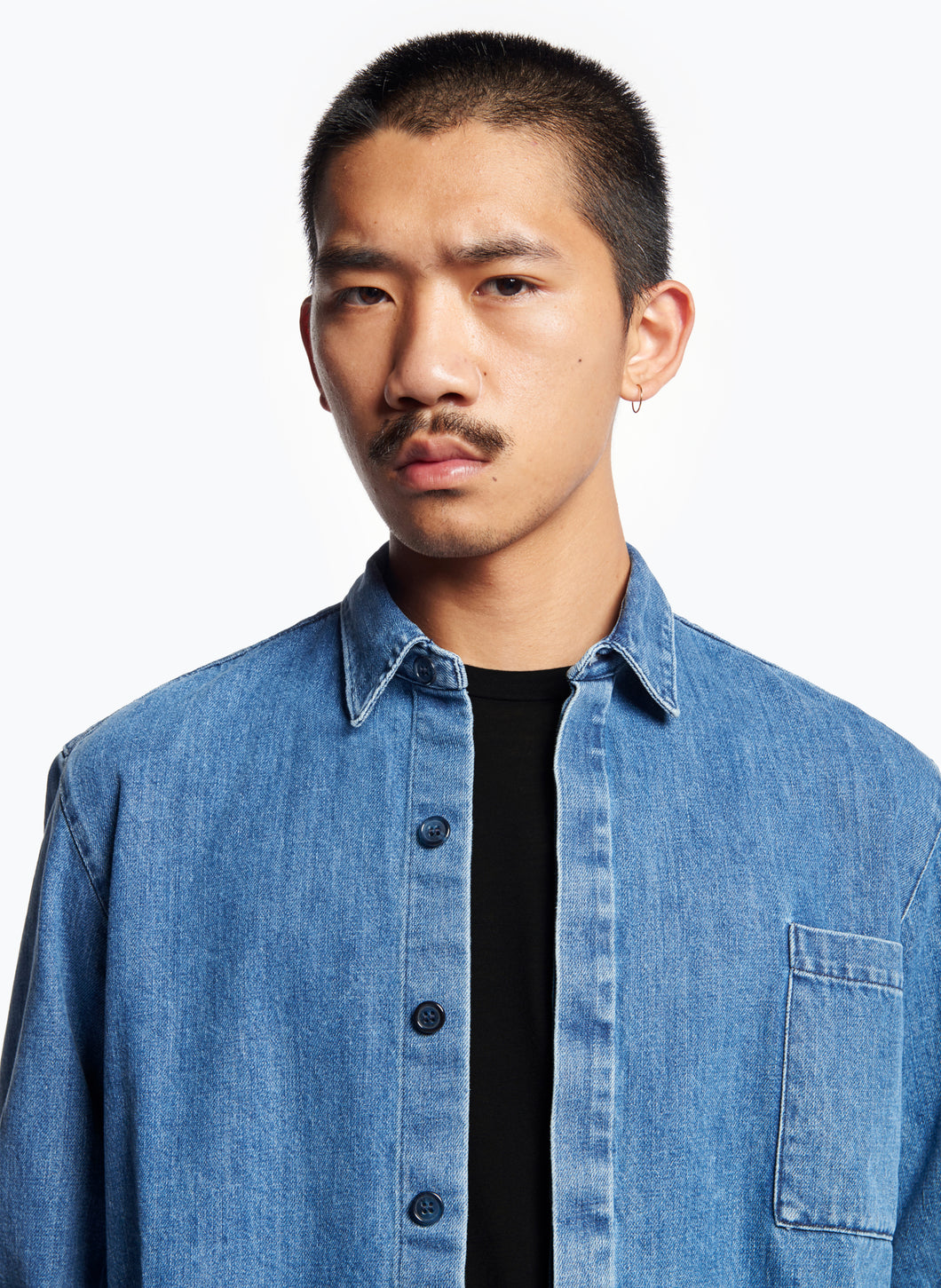 Overshirt with Chest Patch Pocket in Bleached Denim