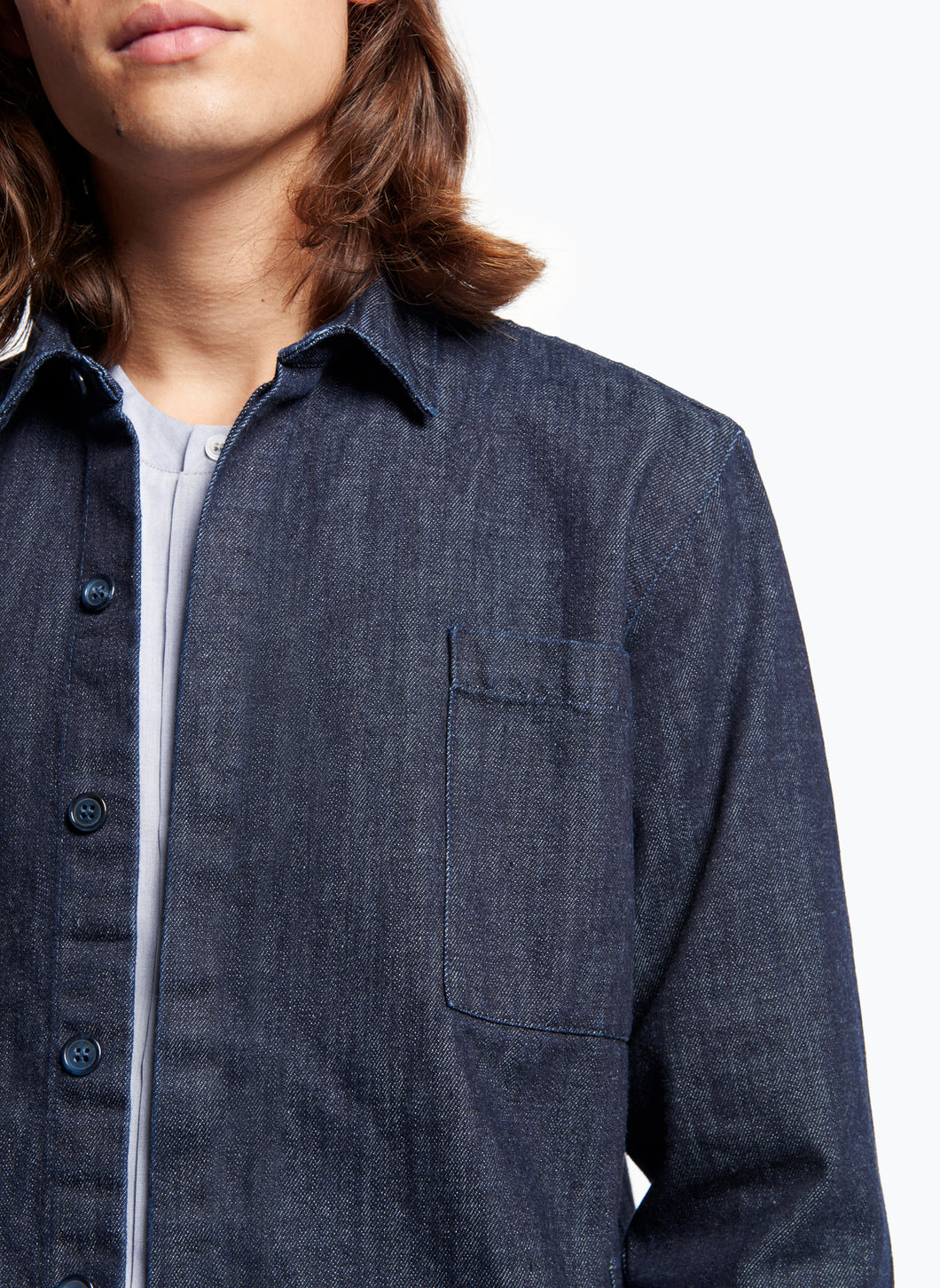 Overshirt with Chest Patch Pocket in Rinsed Denim