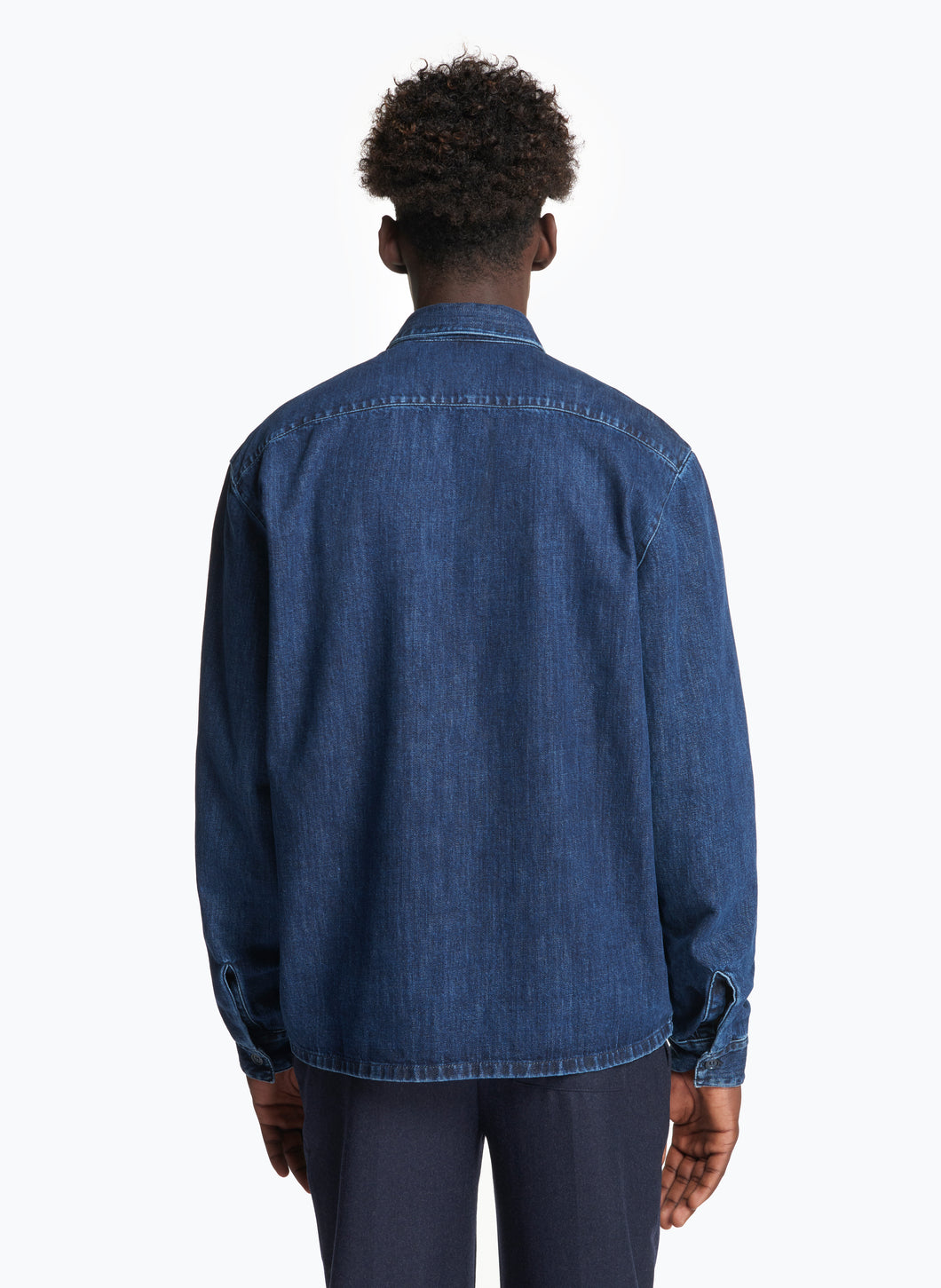Overshirt with Chest Patch Pocket in Stoned Denim