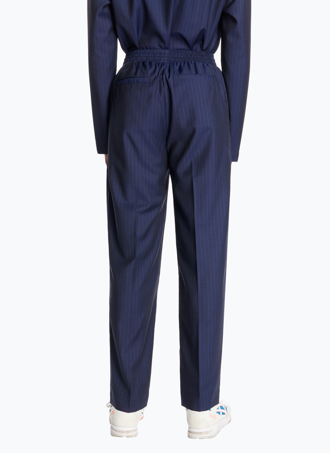 Pants with Large Elastic Waist in Navy Blue Striped Cool Wool