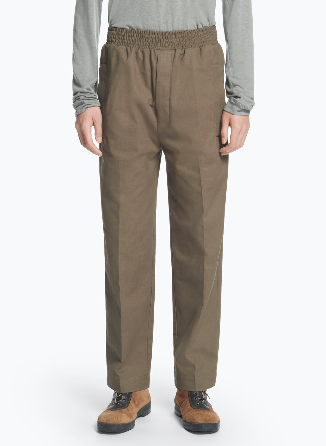 Pants with Large Elastic Waist in Olive Gabardine