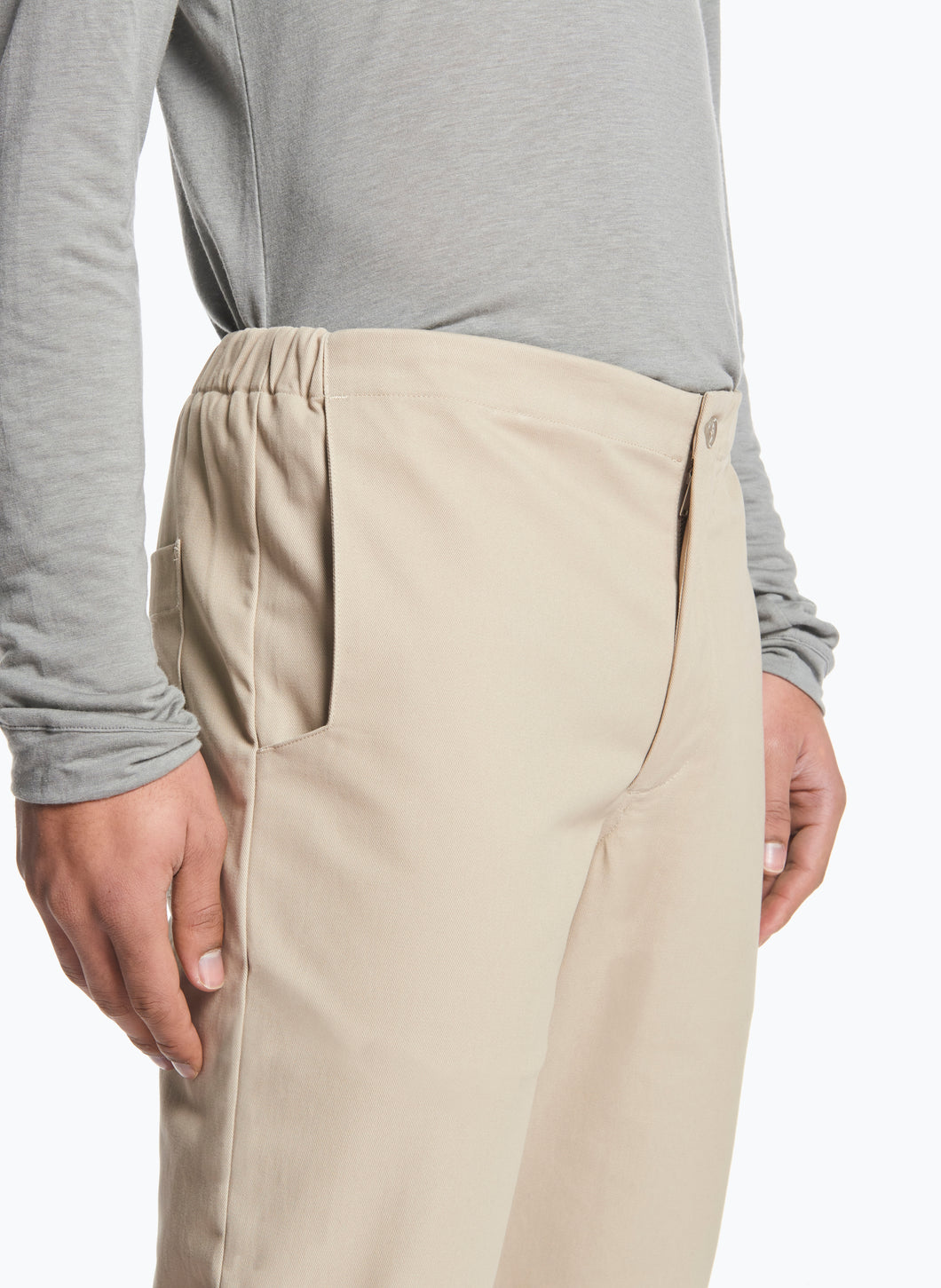 Pants with Notched Pockets in Beige Gabardine