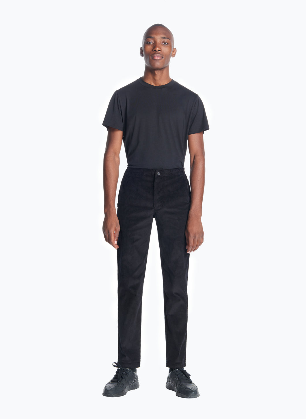 Pants with Notched Pockets in Black Corduroy