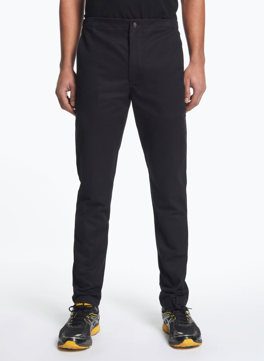 Pants with Notched Pockets in Black Gabardine