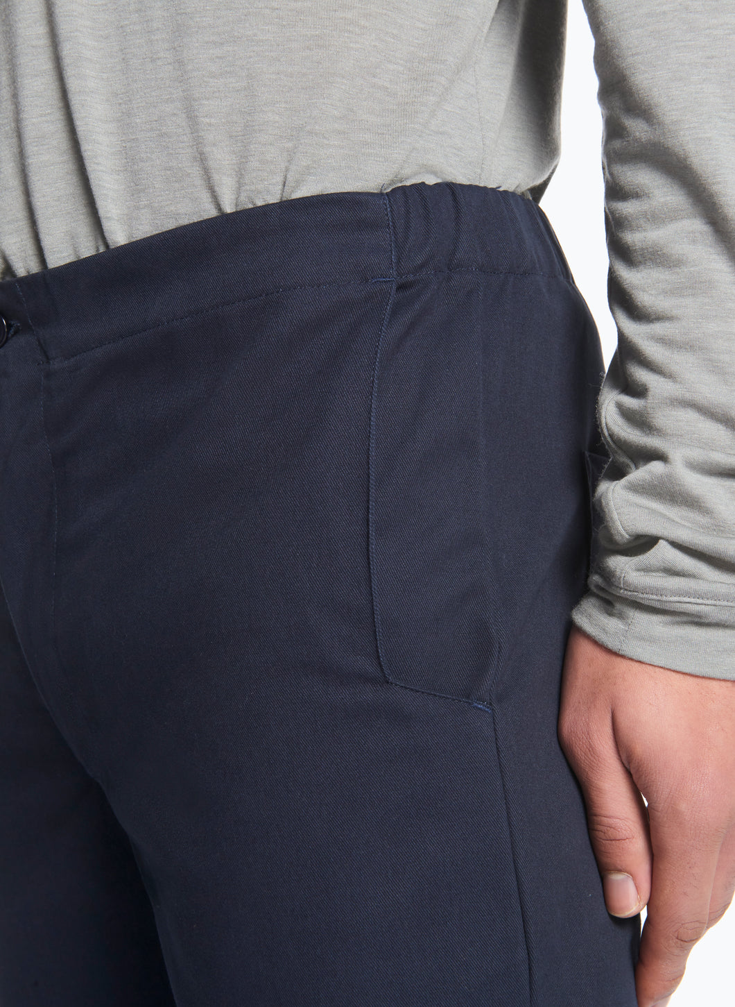 Pants with Notched Pockets in Navy Blue Gabardine