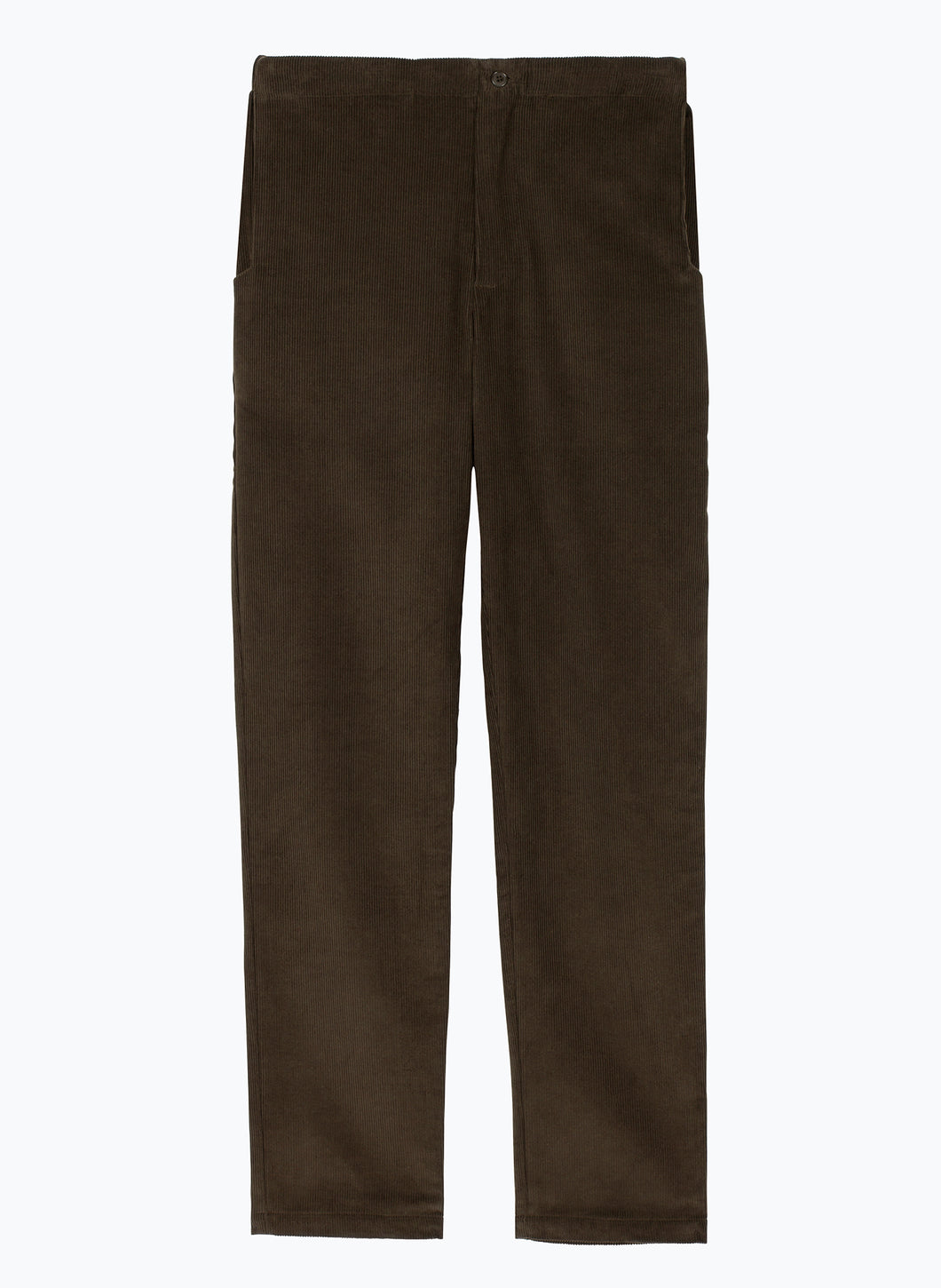 Pants with Notched Pockets in Olive Corduroy