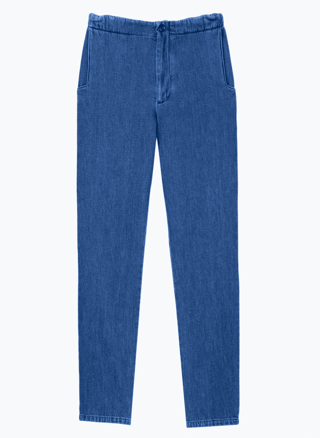 Pants with Notched Pockets in Stoned Denim