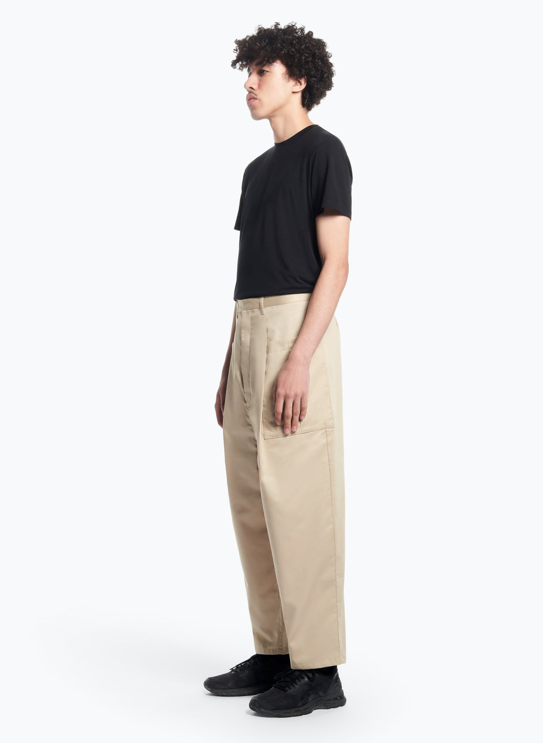 Pants with Pleated Patch Pockets in Beige Pima Cotton