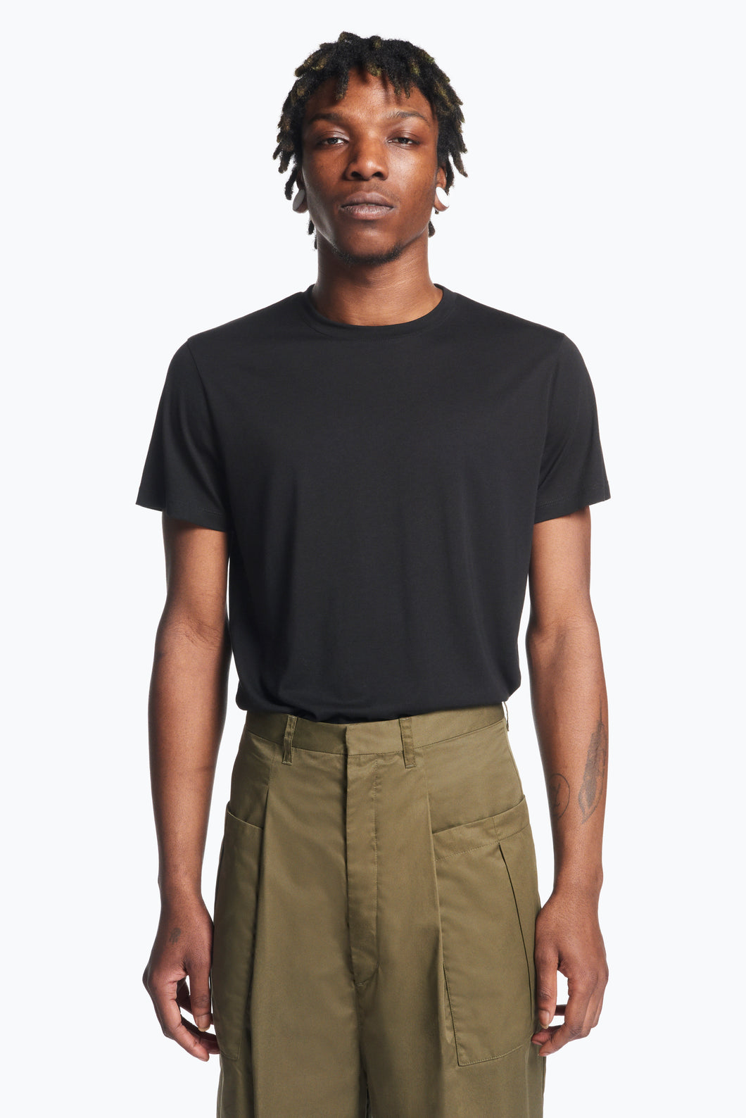 Pants with Pleated Patch Pockets in Olive Pima Cotton