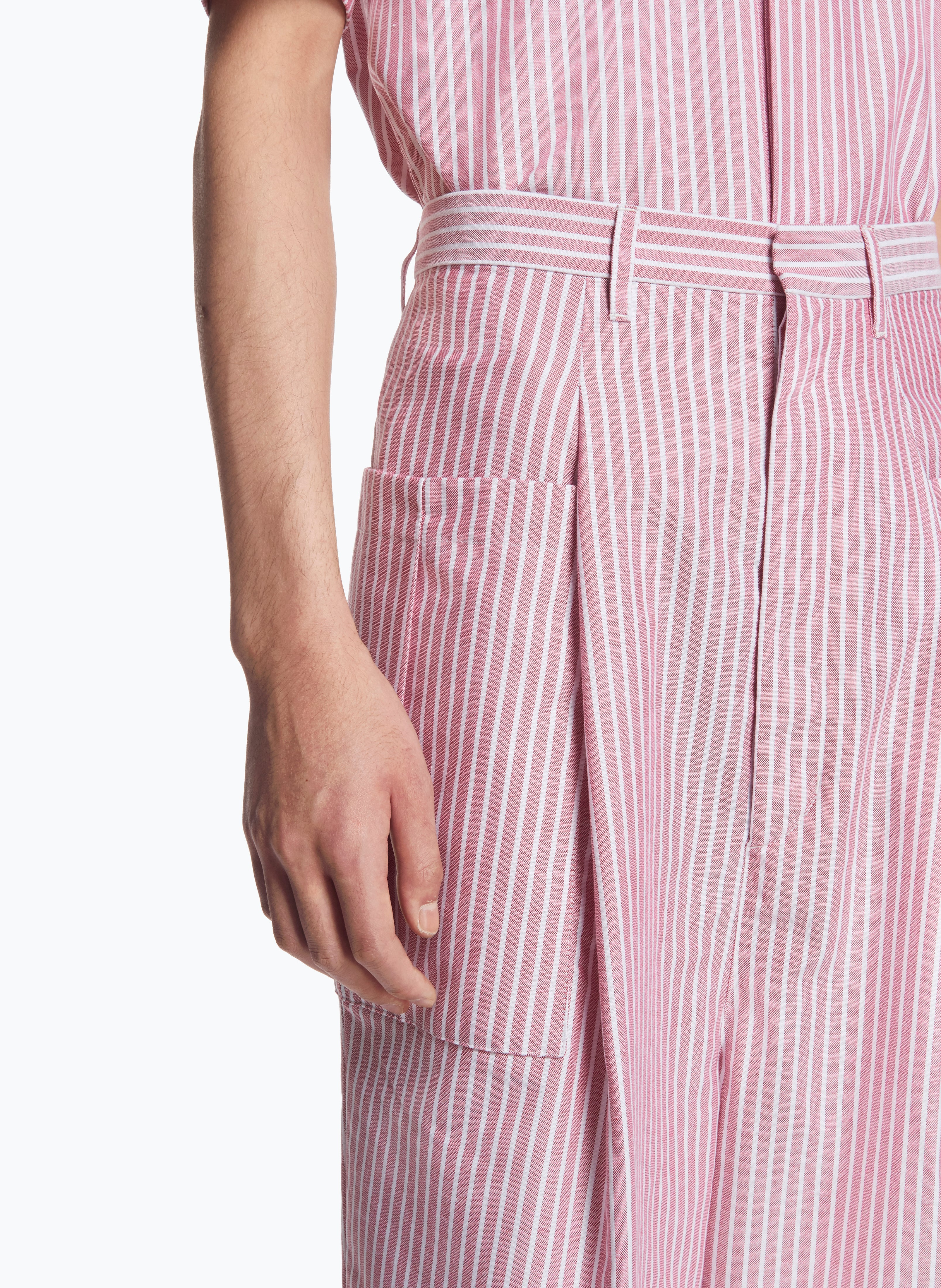 Pants with Pleated Patch Pockets in Red Striped Oxford