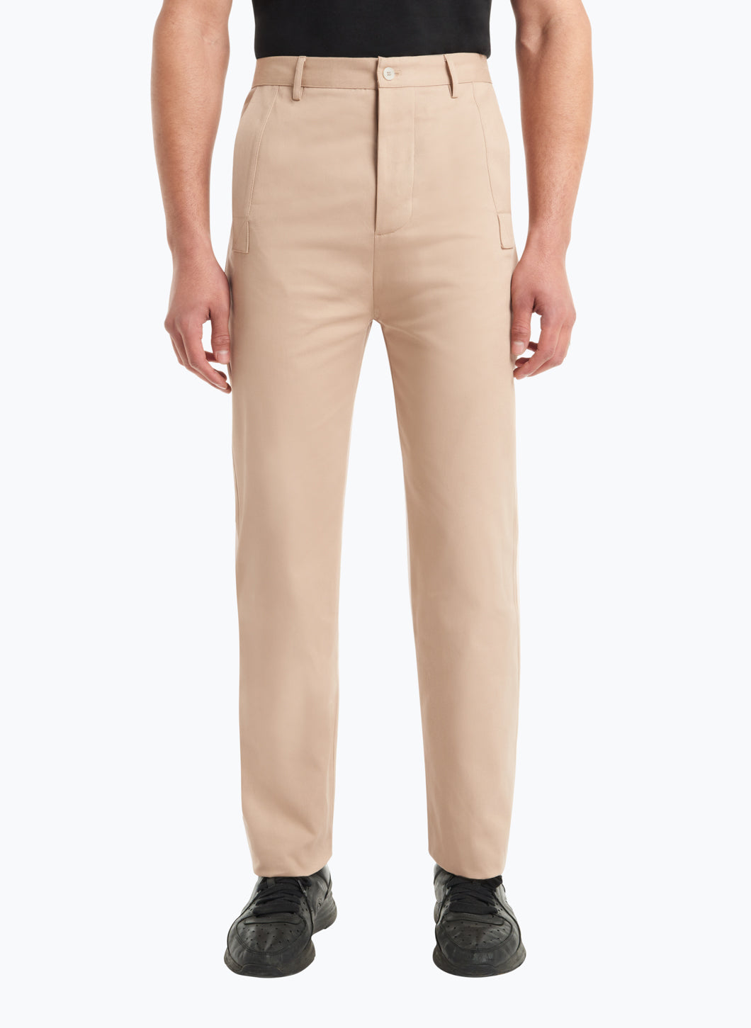 Pants with Reinforced Pockets in Beige Gabardine