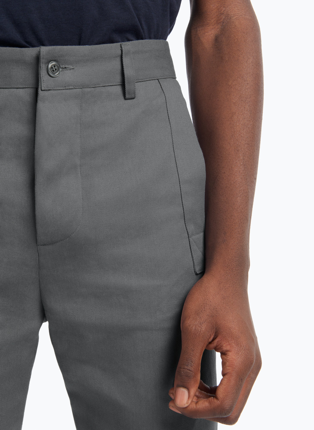 Pants with Reinforced Pockets in Grey Gabardine