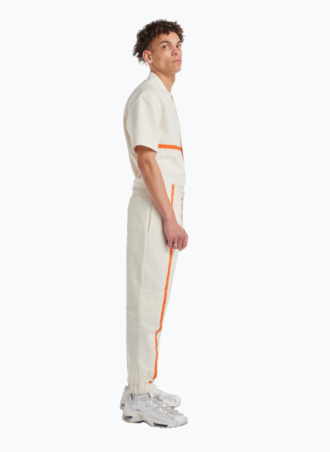 Pants with Vertical Bands in White Cotton Ripstop with Orange Trim