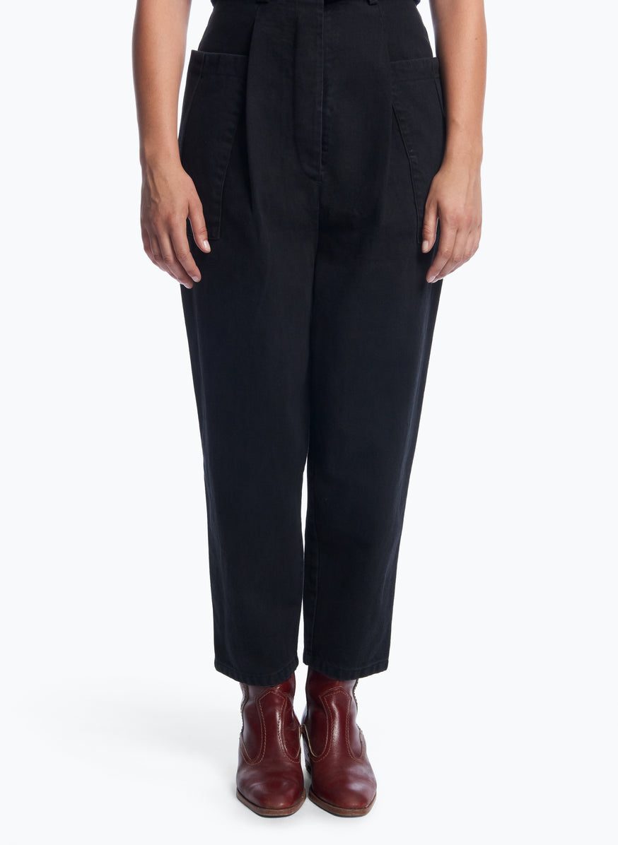 Pants with Pleated Patch Pockets in Black Denim