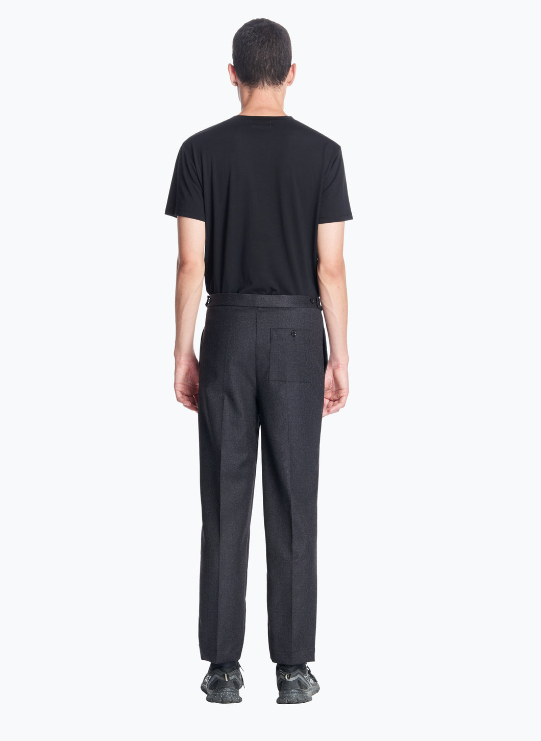Pleated Pants with Elastic Sides in Dark Grey Flannel Wool