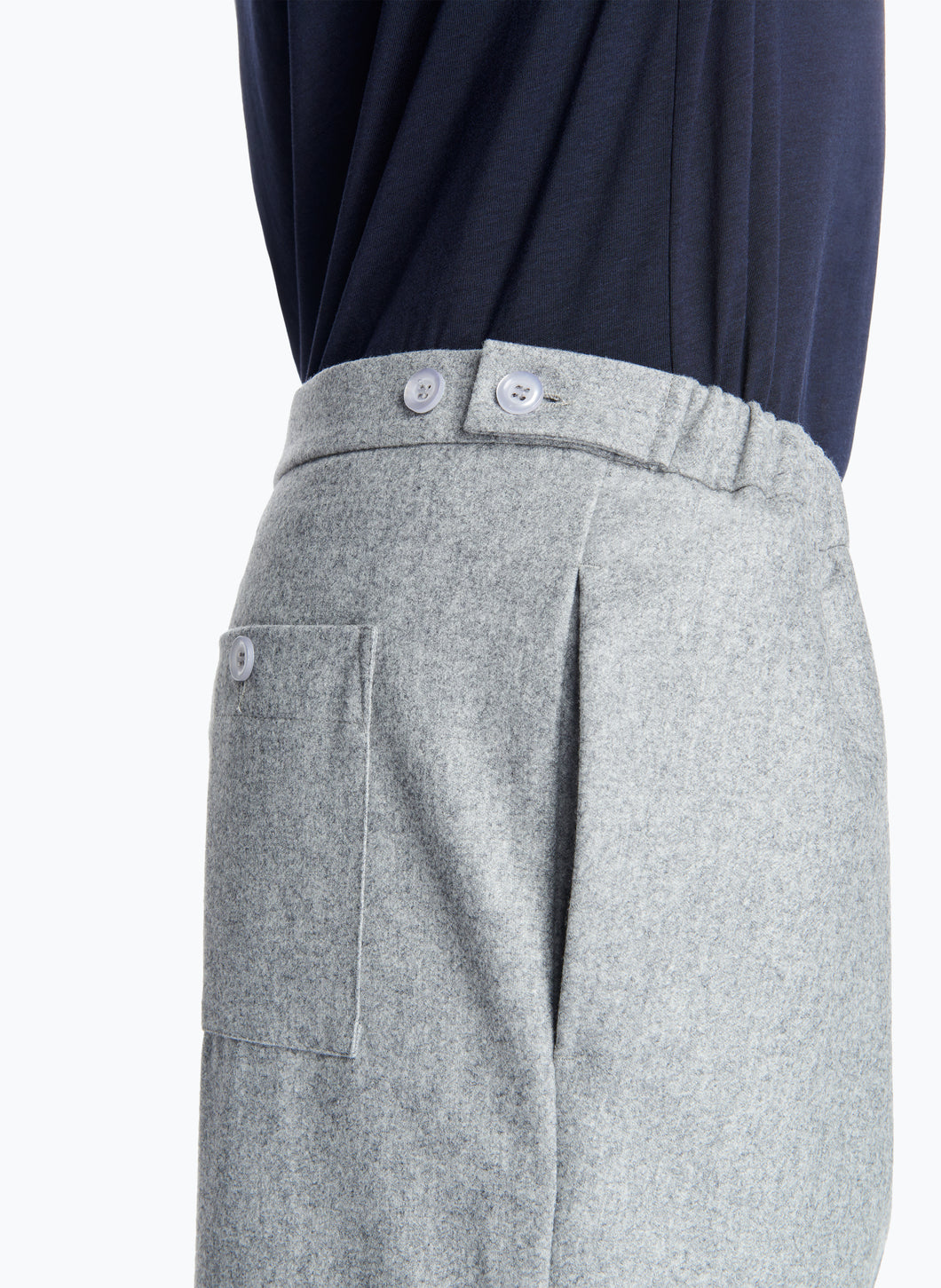 Pleated Pants with Elastic Sides in Light Grey Flannel Wool