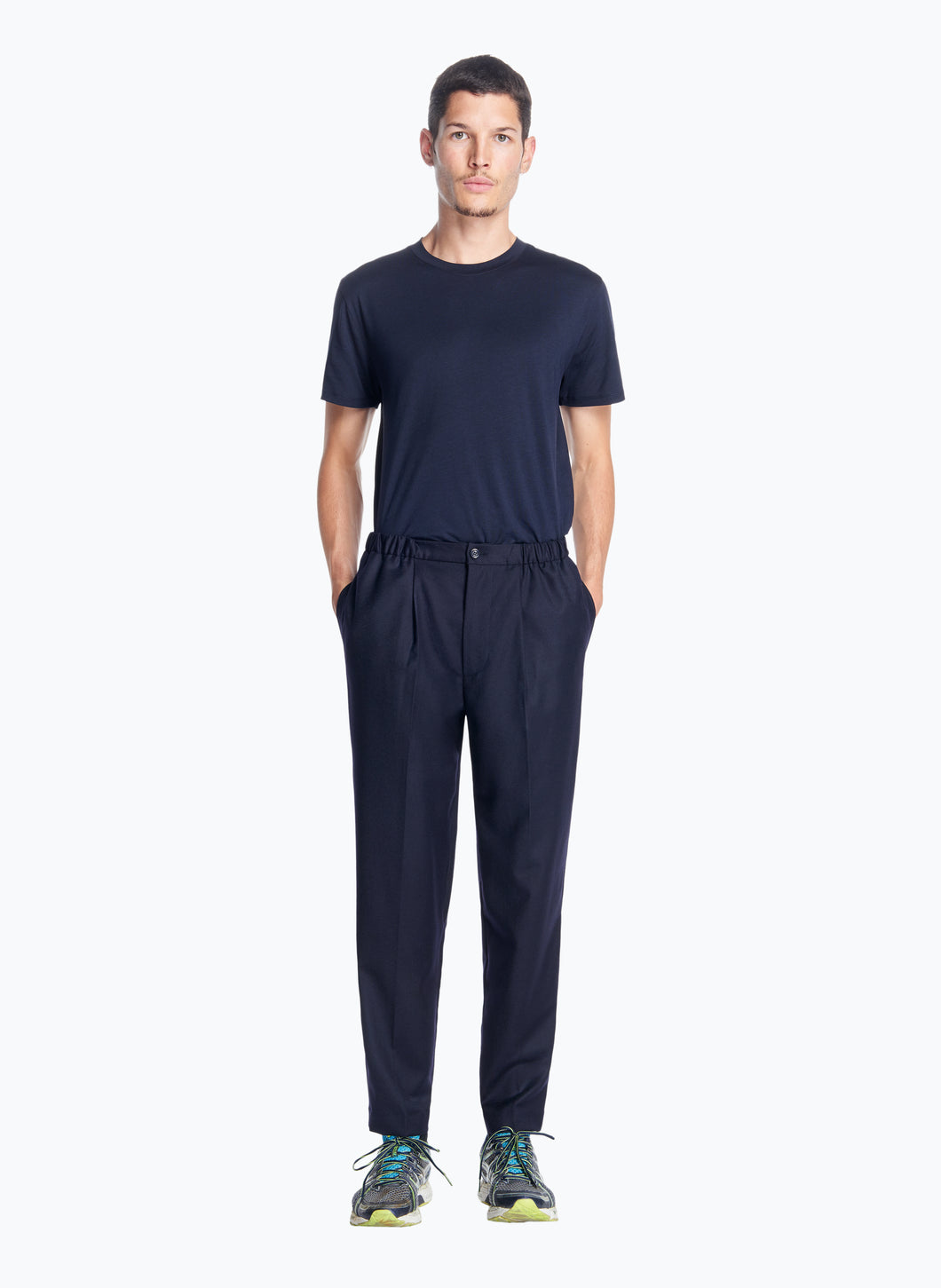 Pleated Pants with Elastic Sides in Navy Blue Flannel Wool