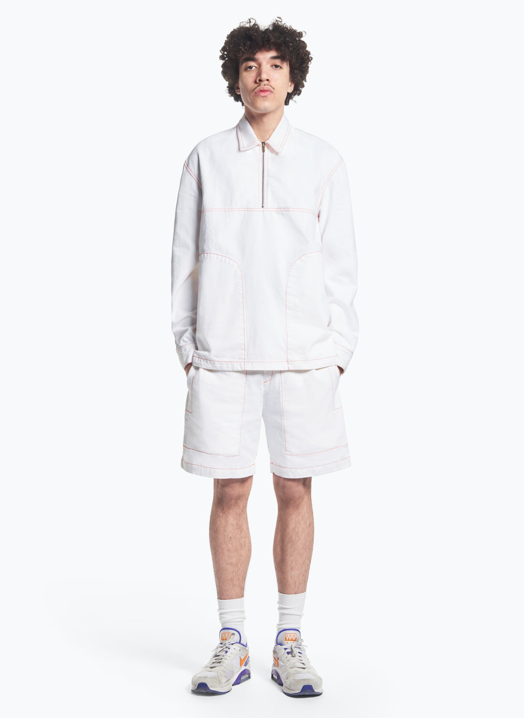 Polo Pullover with Stitched Pockets in White Denim