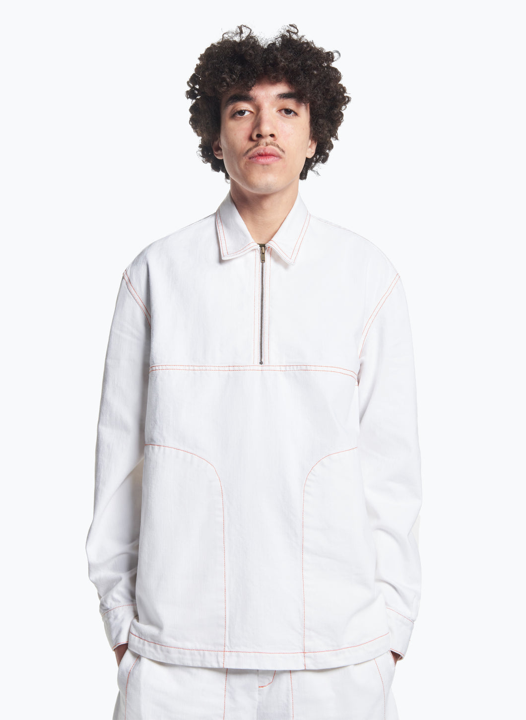 Polo with Stitched Pockets in White Denim