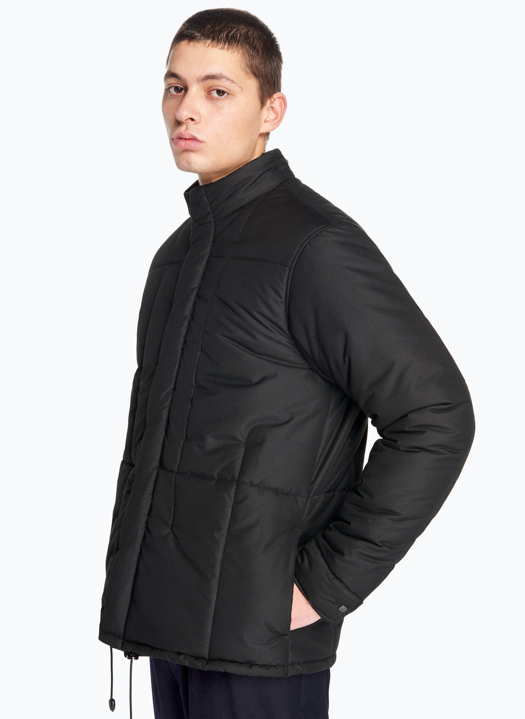 Quilted Puffer Jacket in Black Microfiber