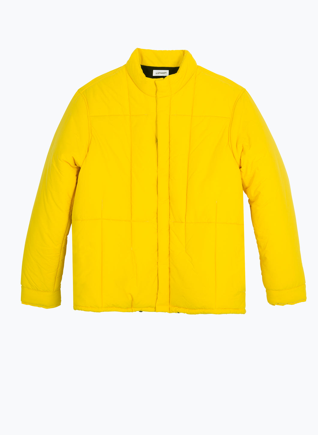 Quilted Puffer Jacket in Yellow Microfiber