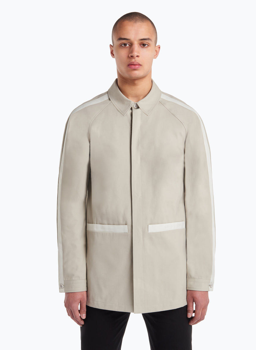 Raglan Sleeve Jacket-Shirt in Beige Gabardine