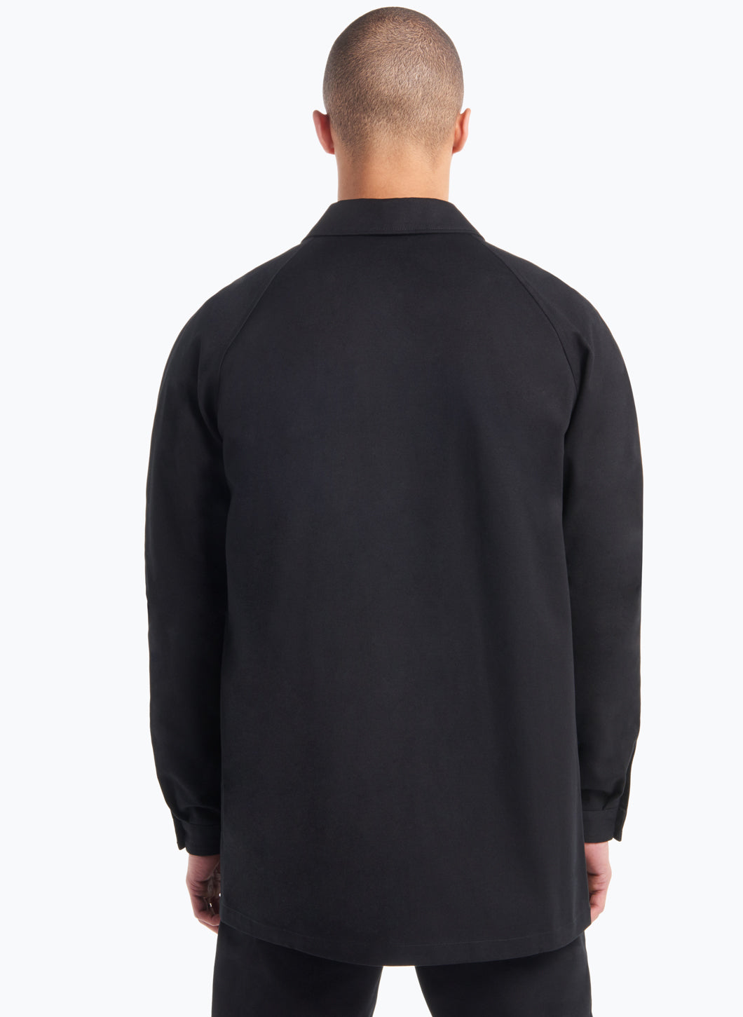 Raglan Sleeve Jacket-Shirt in Black Gabardine