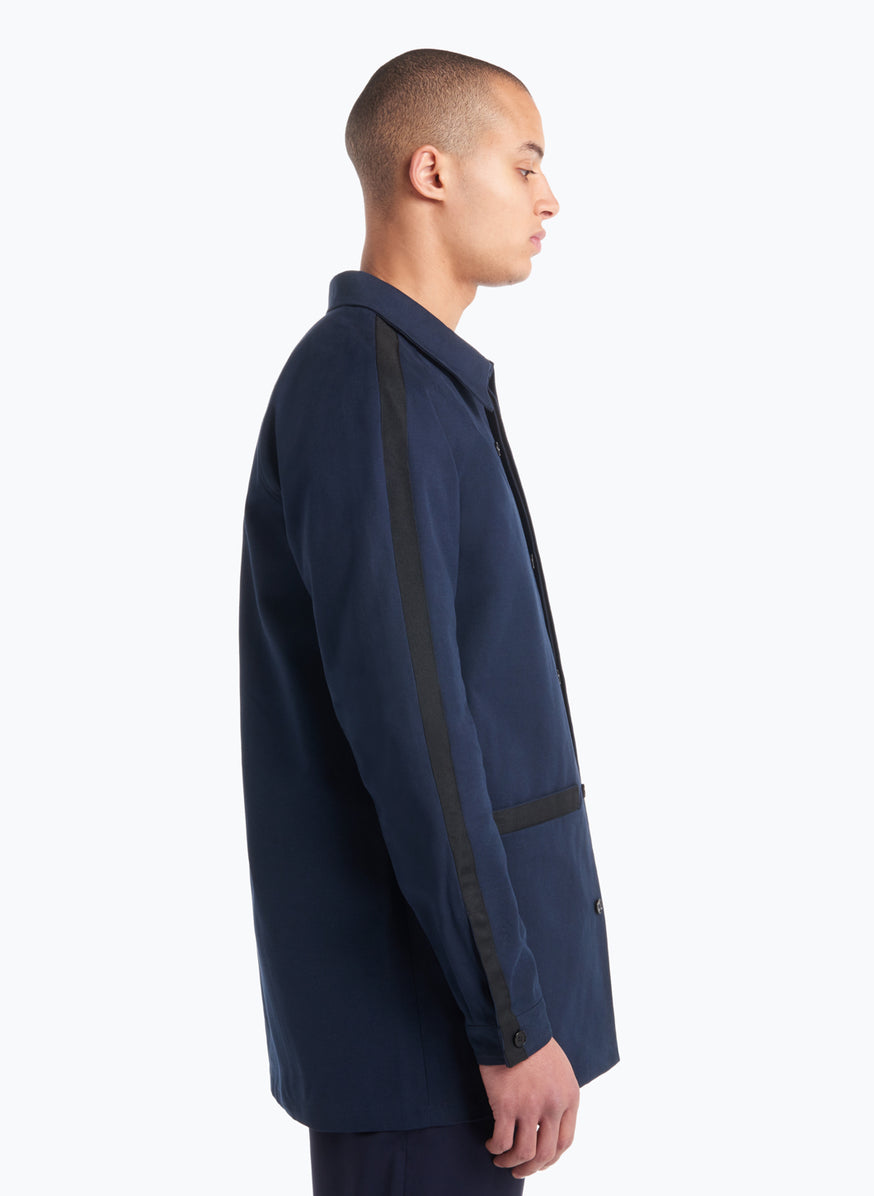 Raglan Sleeve Jacket-Shirt in Navy Blue Gabardine