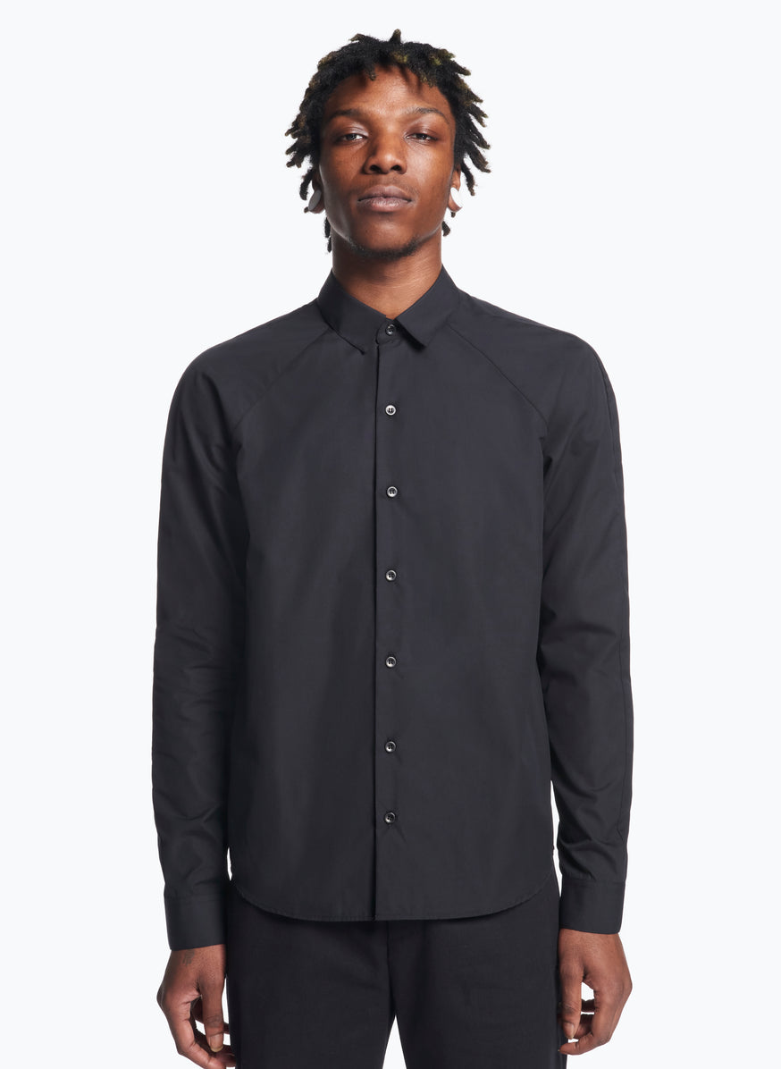 Raglan Sleeve Shirt in Black Poplin