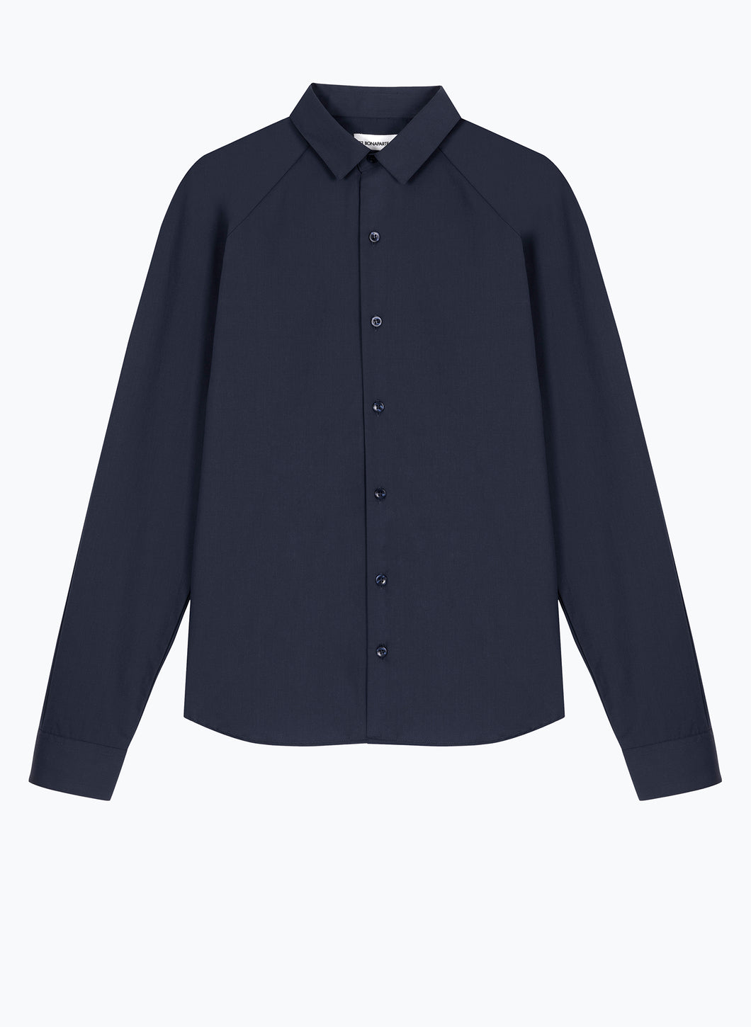 Raglan Sleeve Shirt in Navy Blue Poplin