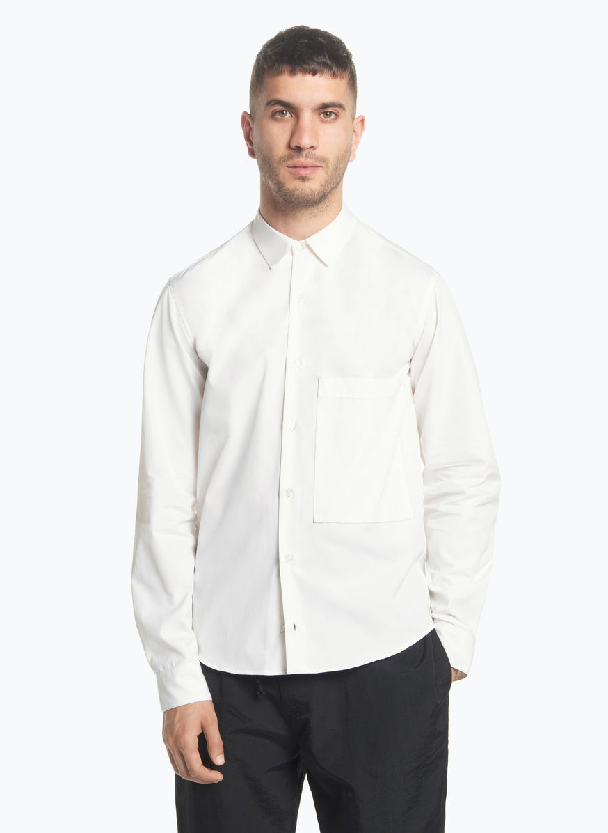 Shirt with Large Patch Pocket in Champagne Poplin