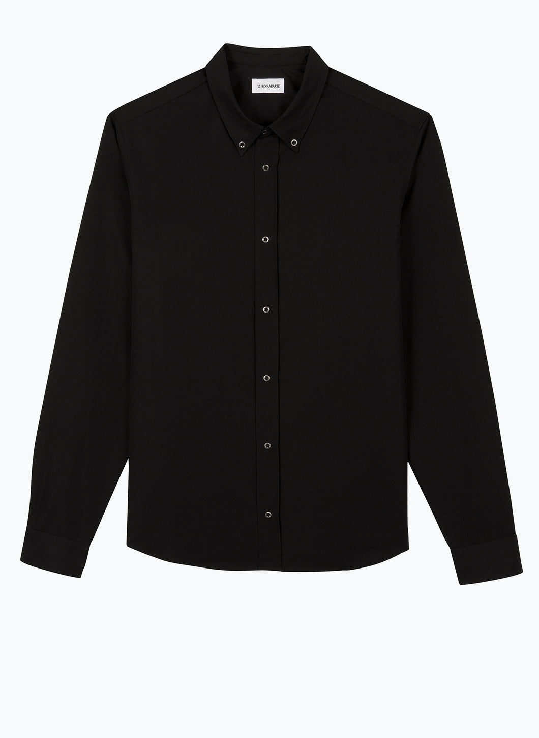 Shirt with Western Collar in Black Poplin