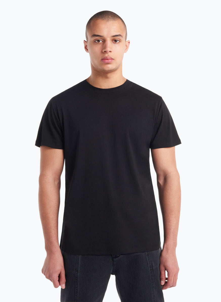 Short Sleeve Crew Neck T-Shirt in Black Tencel