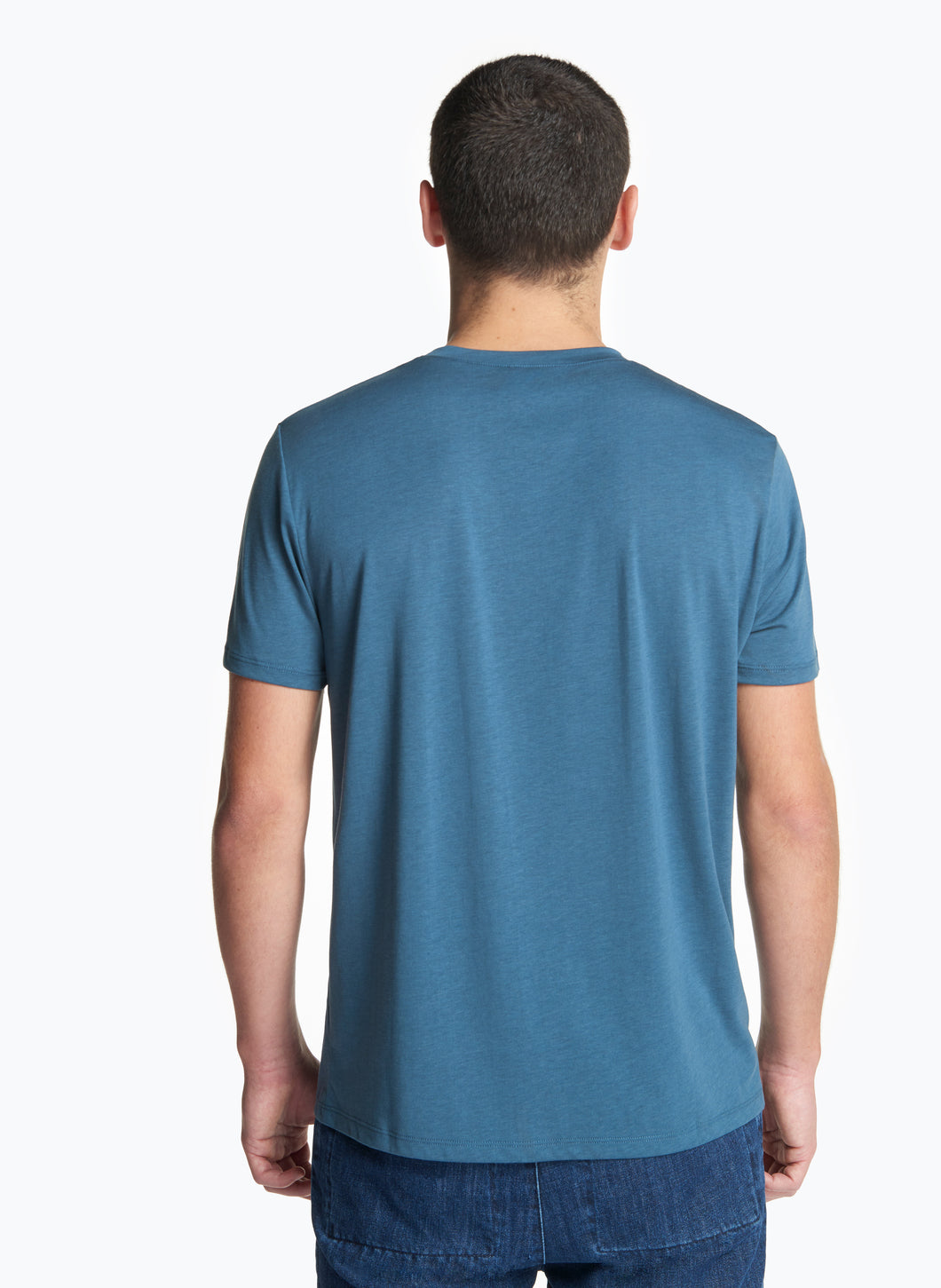Short Sleeve Crew Neck T-Shirt in Petrol Tencel