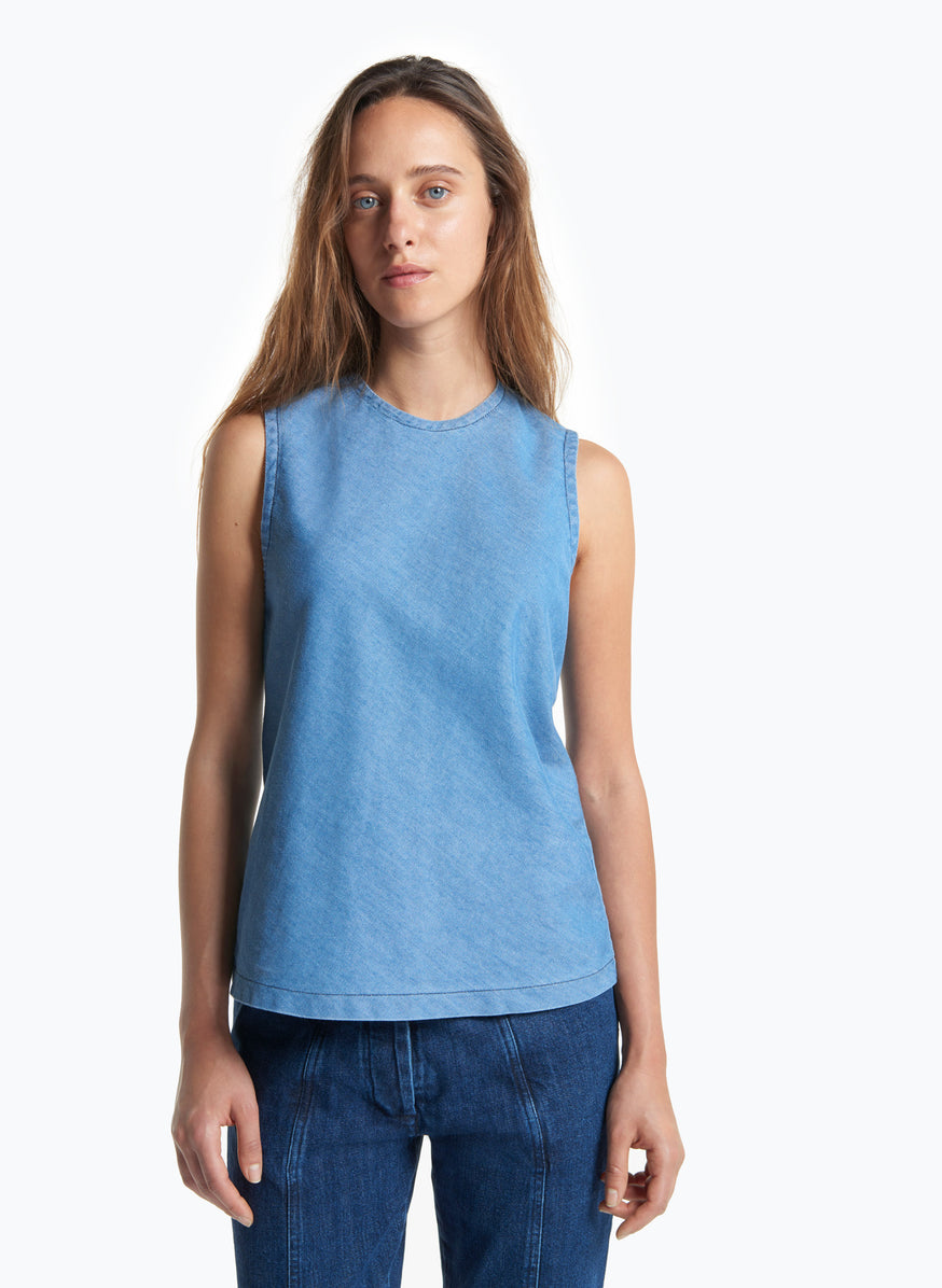 Sleeveless Top in Bleached Denim