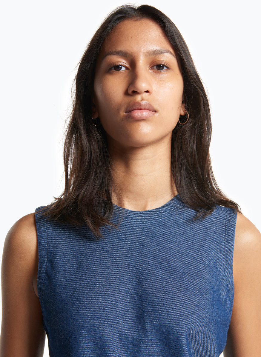 Sleeveless Top in Washed Denim