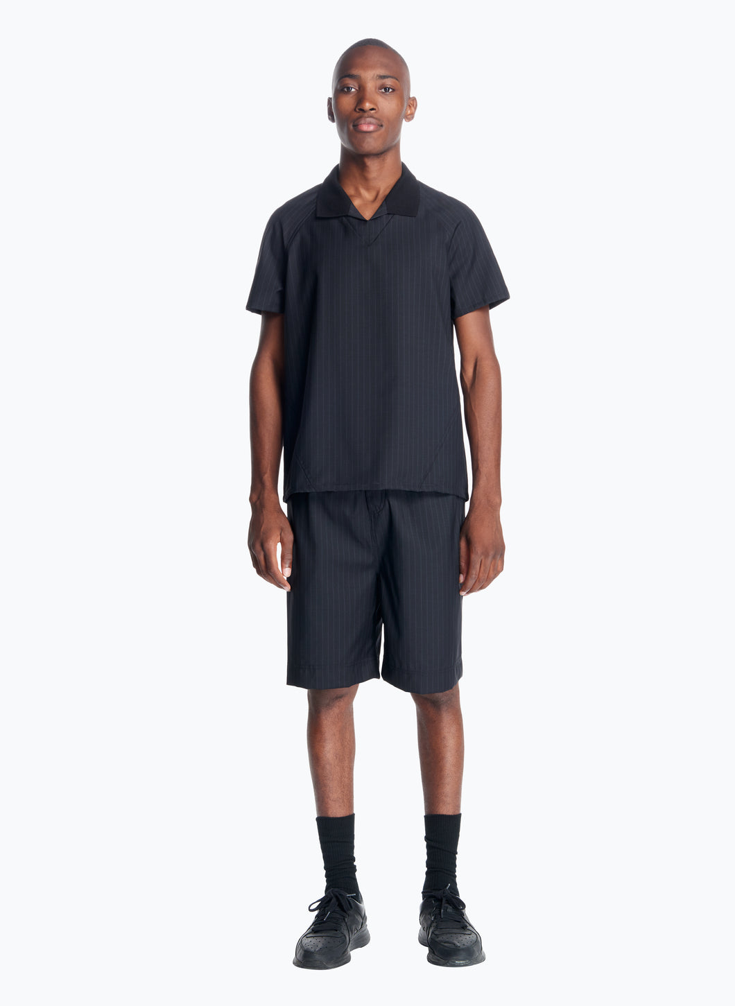Soccer-Style Poloshirt in Black Striped Cool Wool