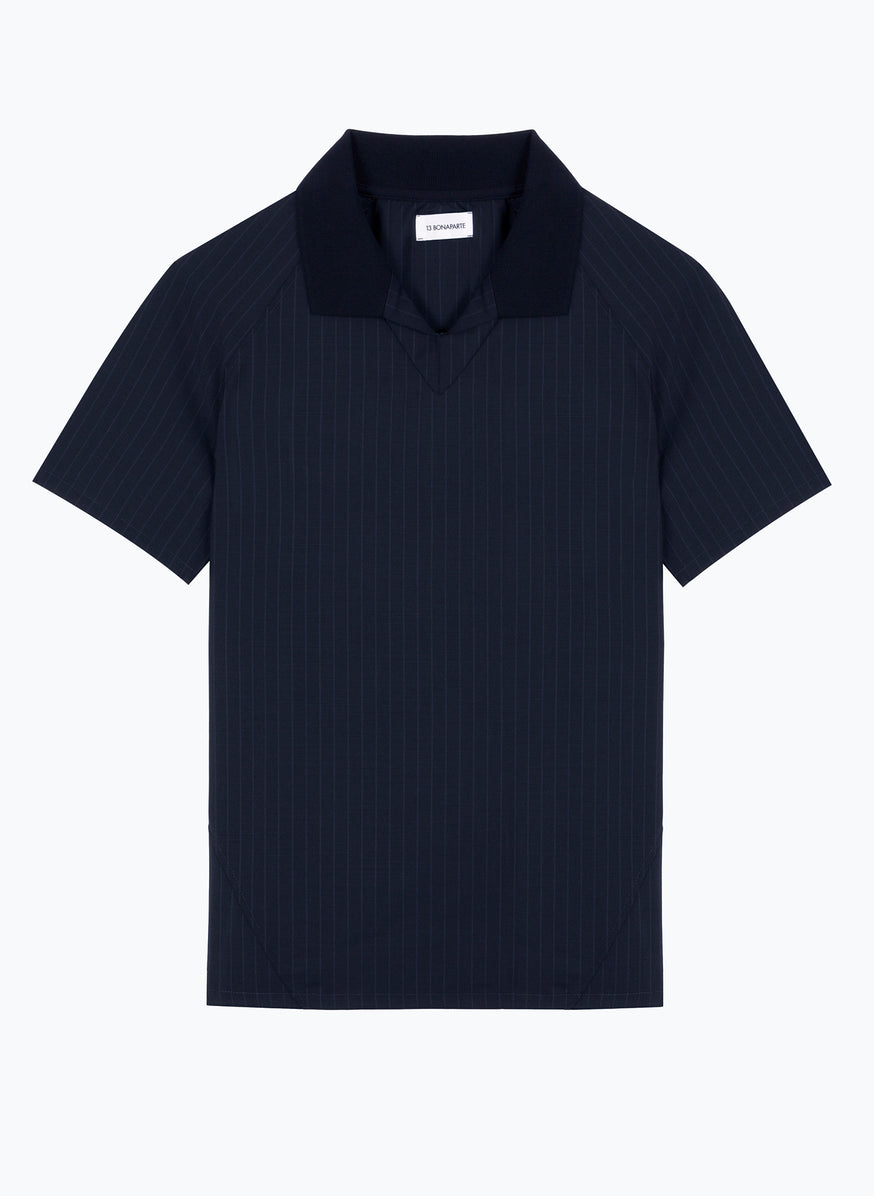 Soccer-Style Poloshirt in Navy Blue Striped Cool Wool