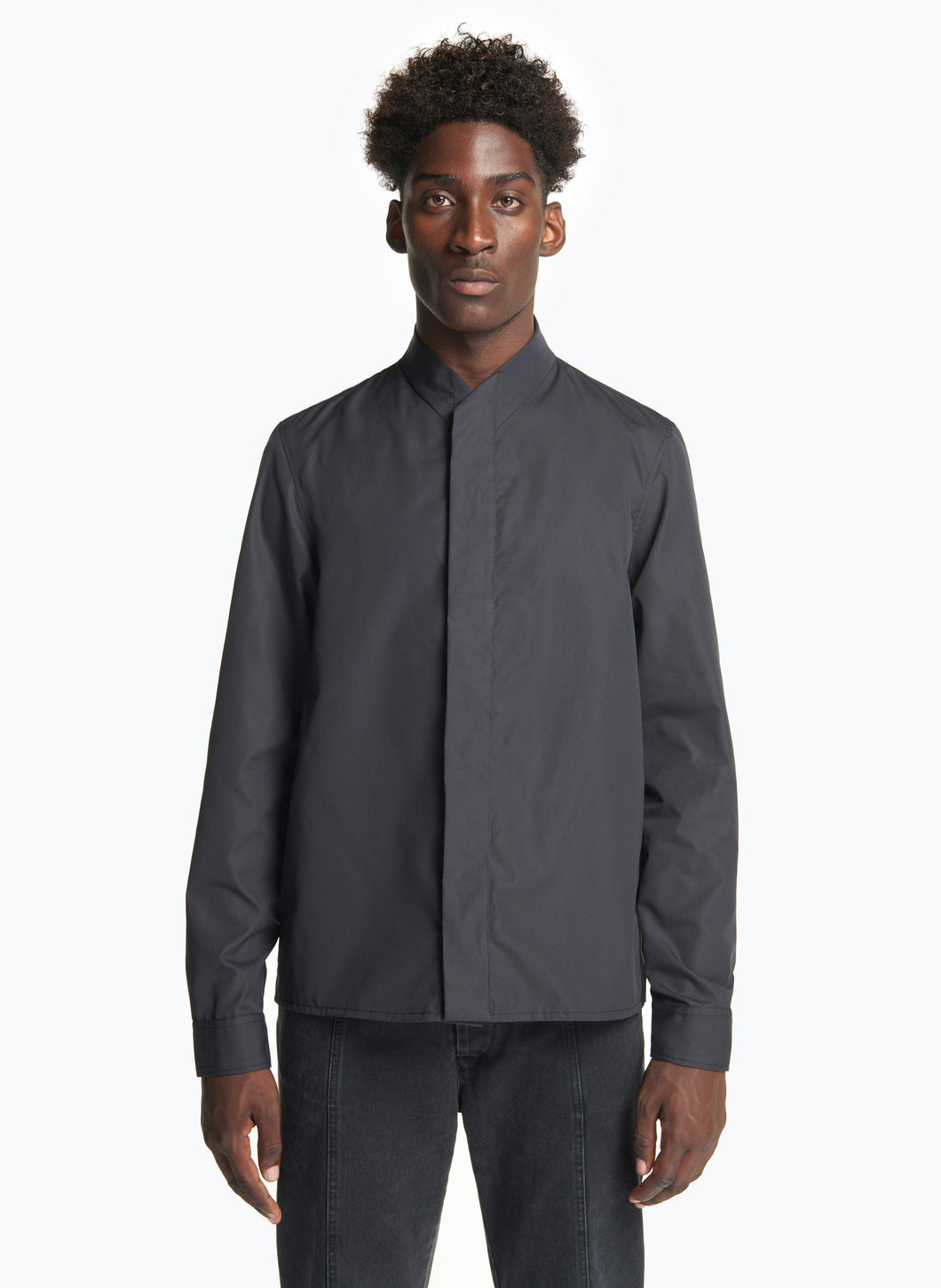 Standing Collar Shirt in Black Poplin