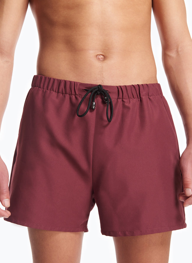Swim Shorts with Italian Pockets in Burgundy Microfiber